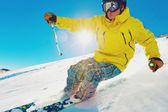 Lyžař na hoře — Stock fotografie