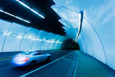 Urban Tunnel, Car moving with Motion Blur — Stock Photo