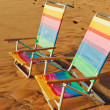 Hawaiian Vacation Sunset Concept, Two Beach Chairs at Sunset — Stock Photo