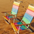 Hawaiian Vacation Sunset Concept, Two Beach Chairs at Sunset — Stock Photo #9757954