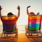 Happy Romantic Couple Enjoying Beautiful Sunset at the Beach — Stock Photo #9758026