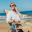Stock Photo: Business Man on the Beach in Hawaii