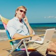 Business man at the beach — Foto de Stock
