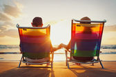 Happy Romantic Couple Enjoying Beautiful Sunset at the Beach — Stock Photo