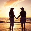 Senior Couple Enjoying Sunset at the Beach — Stock Photo