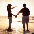 Senior Couple Enjoying Sunset at the Beach — Stock Photo #9838586