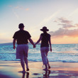 Senior Couple Enjoying Sunset at the Beach — Stock Photo #9838618