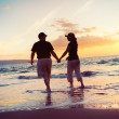 Senior Couple Enjoying Sunset at the Beach — Stock Photo #9838619