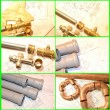 Plumbin Equipment On House Plans - Foto de Stock