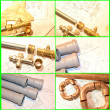 Plumbin Equipment On House Plans - Foto Stock
