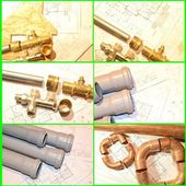 Plumbin Equipment On House Plans — Стоковое фото