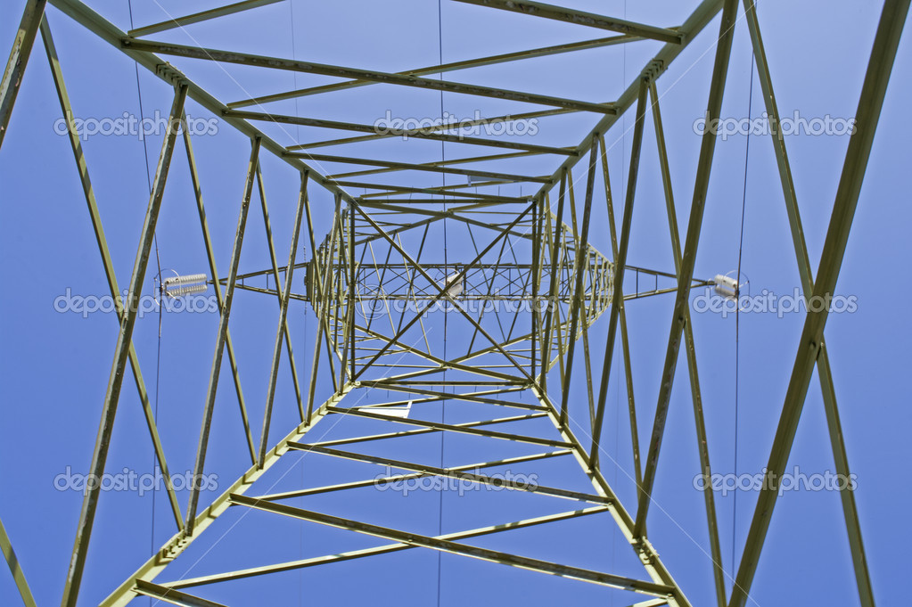 Italian electricity pylon medium voltage with blue sky background  Stock Photo #8856542