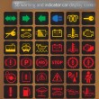 Warning and indicator car display icons set - Stock Vector
