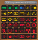 Warning and indicator car display icons set — Stock Vector