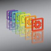 Rainbow flowers — Stock Vector