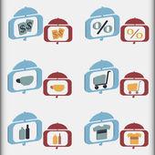 шоппинг иконки — Cтоковый вектор