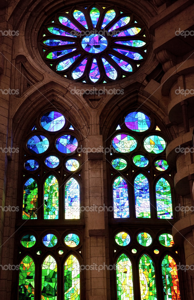 Stained glass window in Sagrada Familia — Stock Photo #10125563
