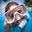 Woman in a swim mask — Stock Photo