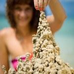 Sandcastle on the beach — Stock Photo