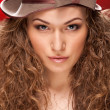 Girl with retro hat - Stock Photo
