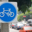 Sign Indicating Cycle Path - Stock Photo