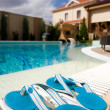Swimming pool in hotel - Stock Photo