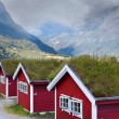 Norwegian houses in the mountains — Stock Photo