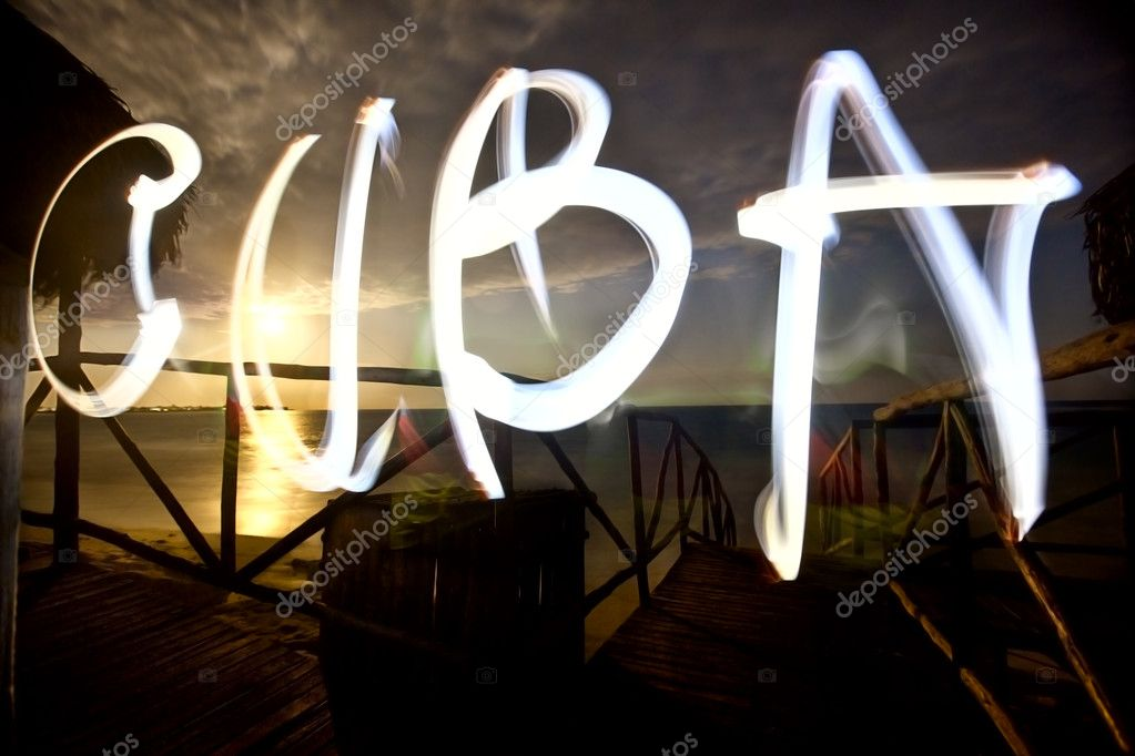 Illuminated sign designating Cuba  Stock Photo #8668290