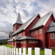Red wooden house — Stock fotografie