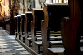 Benches in the cathedral — Stock Photo