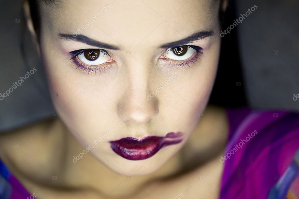 Girl's face with lipstick smearing — Stock Photo #9258103