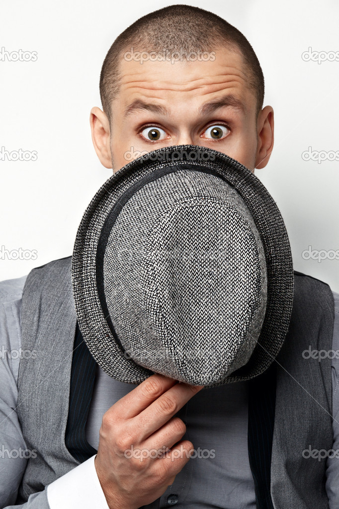 Guy keeps his hat covering his face — Stock Photo #9258105