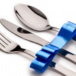 Stock Photo: Cutlery with ribbon