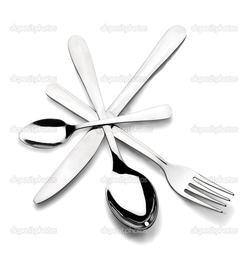 Cutlery laid out in a circle  Stock Photo #9842760