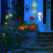 Night exterior of Halloween house - Stock Photo