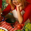 Stock Photo: Young woman with food