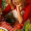 Young woman with food — Stock Photo