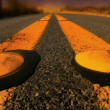 Stock Photo: Yellow lines on Road