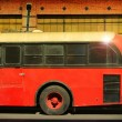 Big Red Bus in Golden Summer Light - Foto de Stock