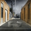 Alley in City with Footprints — Stock Photo