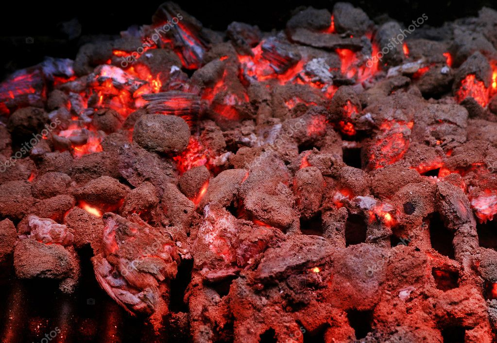 Detail shot of burning coals and embers on grill — Stock Photo #8453192