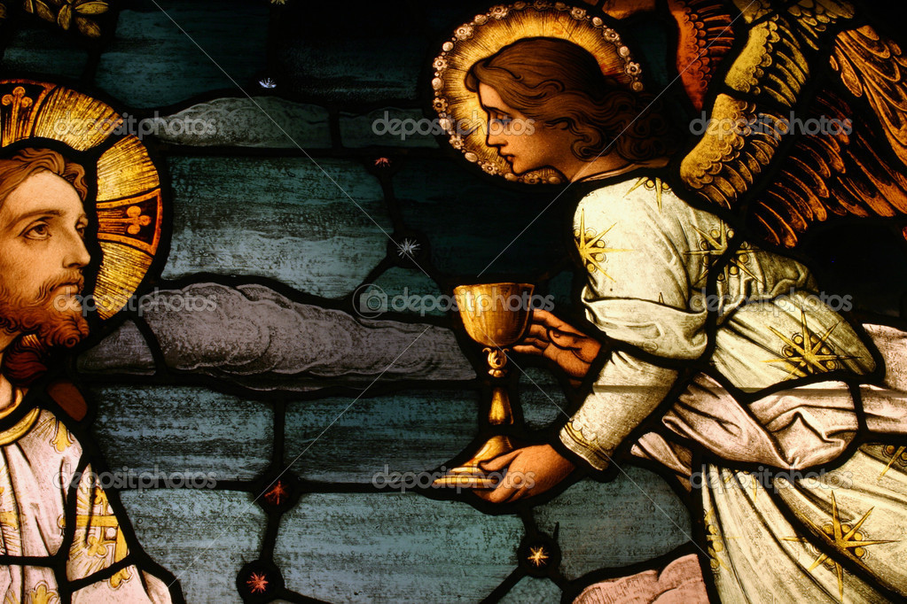 Stained glass depicting Jesus being offered chalice by angel  Stock Photo #8453315