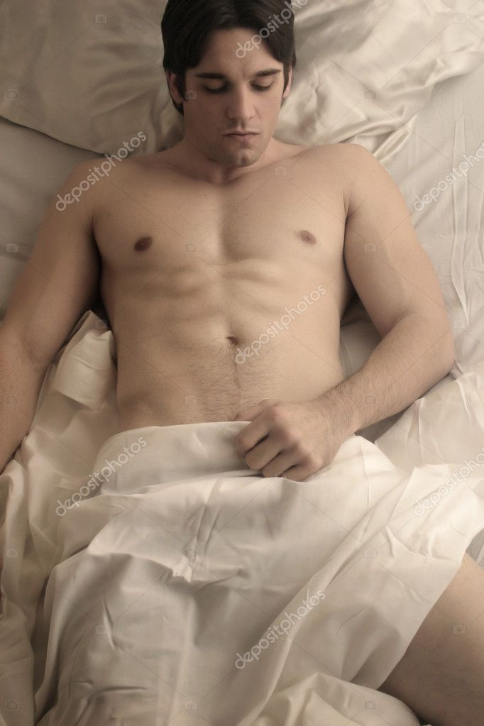 Young Naked Man In Bed With Sheets Stock Image Francesco Cura