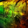 Bus covered in urban graffiti - Stock Photo