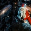 Santa in space — Stock Photo