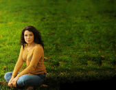 Woman and Grass — Stock Photo