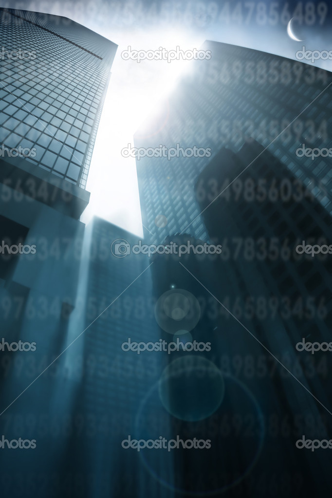 Abstract architectural background with skyscrapers leading up to a flared sky and moon with random numbers faintly superimposed — Stock Photo #8470547