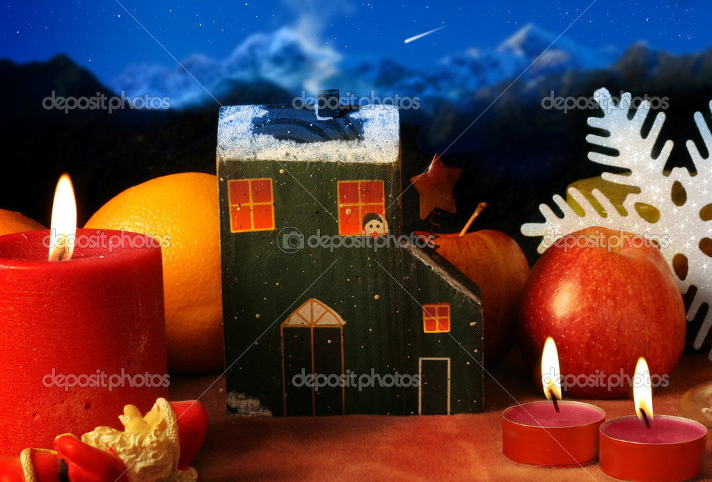Christmas background scene with candles snowflake and little house. — Stock Photo #8471224