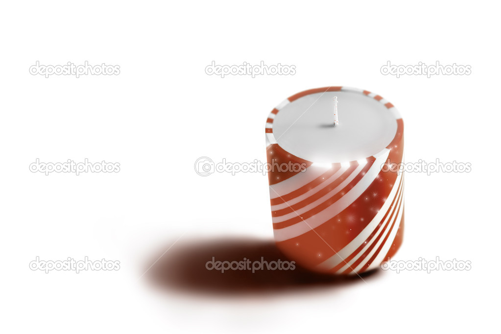 Red and white sparkly holiday candle on white — Zdjęcie stockowe #8471430