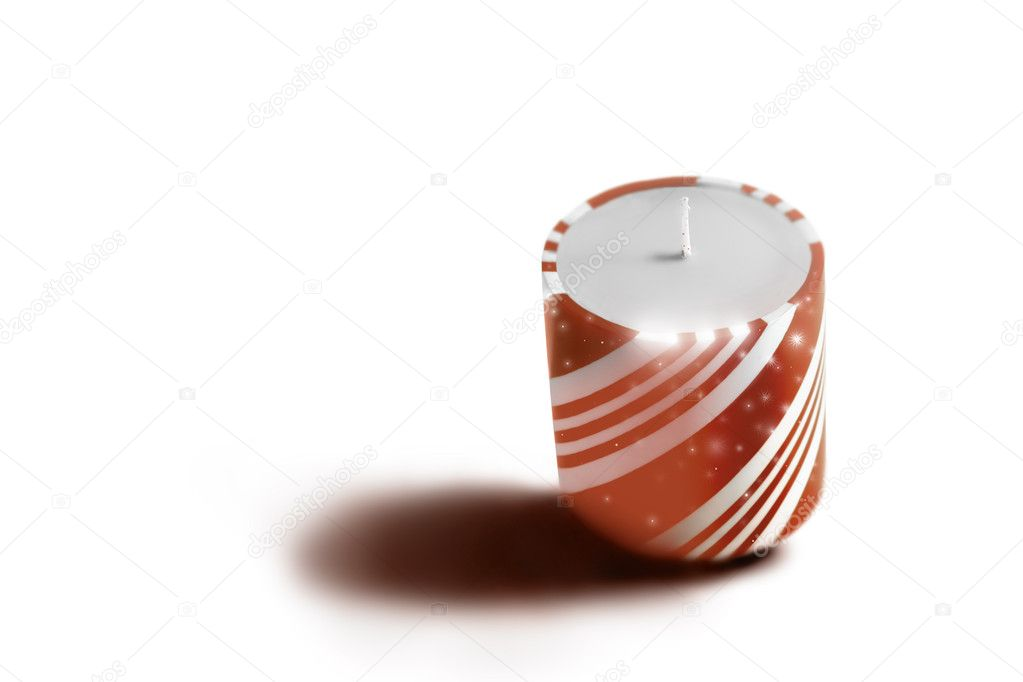 Red and white sparkly holiday candle on white — Stockfoto #8471430